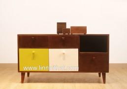 Tủ Vintage - Chất liệu MDF phủ veneer Sơn PU - KT 1200x450xH600 - Giá 4.800.000đ