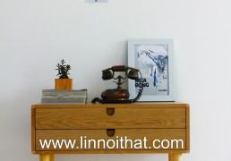 Tủ Vintage chân cao 2 hộc kéo - Chất liệu MDF phủ veneer Sơn PU - KT 800x400xH750 - Giá 3.100.000đ